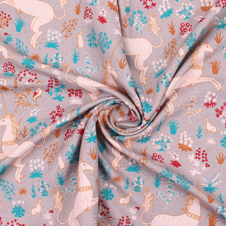 Gray White and Blue Flower Rayon Fabric-15065