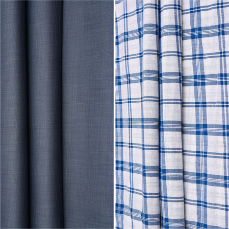 Combo Set Shirt and Trouser-Gray White and Blue-42147