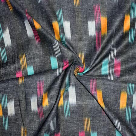 Gray White and Cyan Ikat Cotton Fabric-11149
