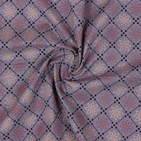 Gray White and Orange Block Print Rayon Fabric-14902
