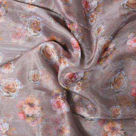Gray White and Peach Floral Organza Digital Silk Fabric-22472