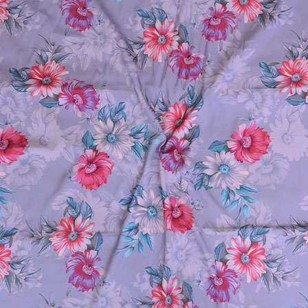 Gray White and Pink Flower Crepe Silk Fabric-18233