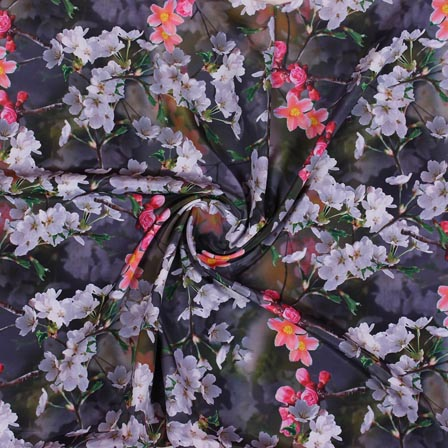 Gray White and Pink Flower Crepe Silk Fabric-18260