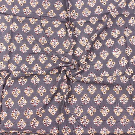 Gray-White and Red Floral Design Block Print Rayon Fabric-15041