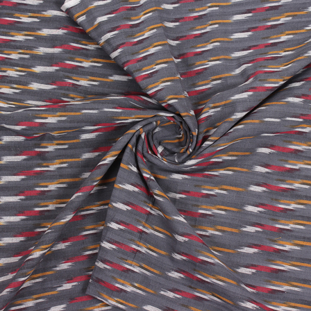 Gray-White and Yellow Cotton Ikat Fabric-12171