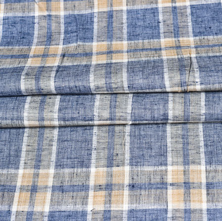 Gray Yellow Checks Handloom Cotton Fabric-42500