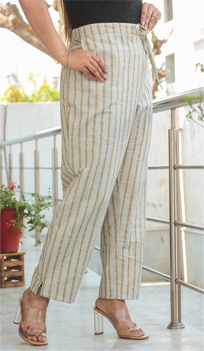 Gray Yellow Cotton Stripe Pant-35191