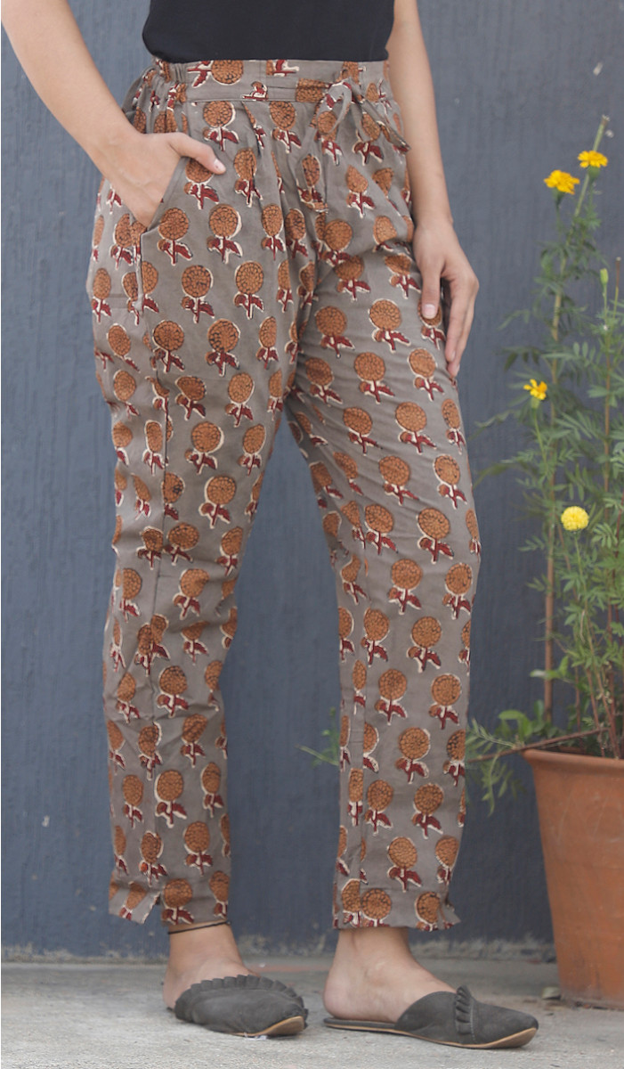 Gray Yellow Floral Block Print Cotton Pant-34110