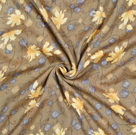 Gray Yellow Floral Cotton Flex Fabric-28174