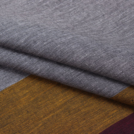 Cotton Shirt (2.25 Meter)-Gray Yellow Striped Handloom Khadi-140714