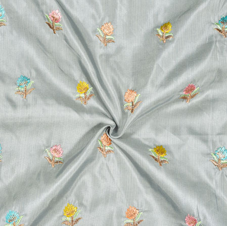 Gray Yellow and Peach Embroidery Silk Paper Fabric-18572