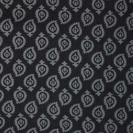 Gray and Black Sanganeri Motif Hand Block Print Cotton Fabric