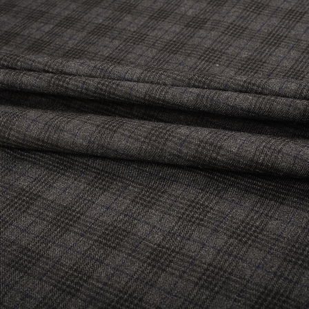Pure Wool Blazer Fabric (2 MTR)  - Gray and Black Tweed Wool-40310
