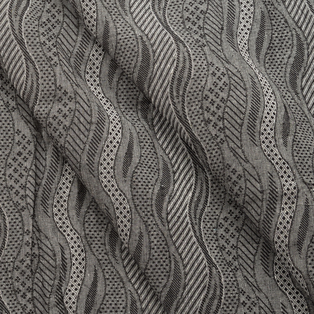 Gray and Black Unique Pattern Jacquard Cotton Handloom Khadi Fabric-40155