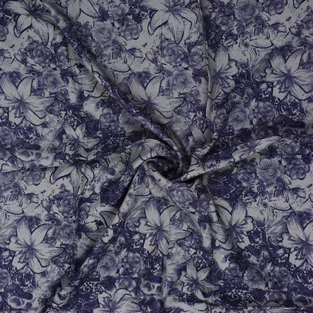 Gray and Blue Floral Design Block Print Rayon Fabric-15060
