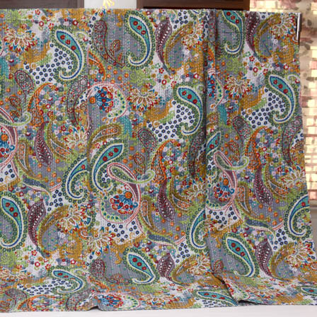 Gray and Blue Handmade Paisley Pattern Kantha Quilt-4382