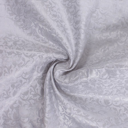 Gray and Golden Floral Brocade Silk Fabric-8905