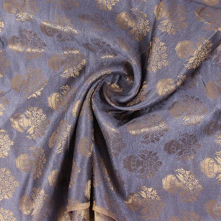 Gray and Golden Brocade Silk Fabric-8886