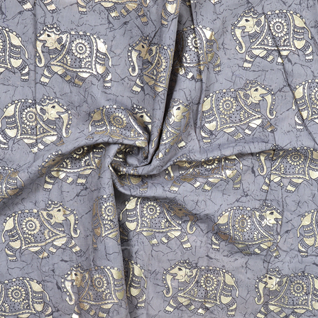 Gray and Silver Elephant Design Chanderi Silk Fabric-9003