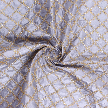 Gray and Golden Embroidery Silk Fabric-60914