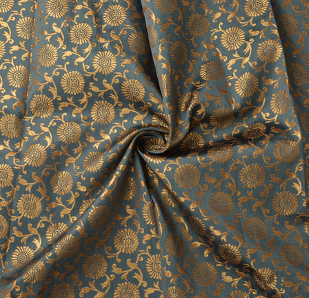 Gray and Golden Floral Pattern Silk Brocade Fabric-8379