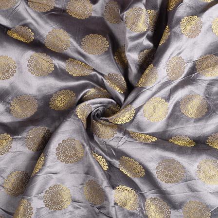 Gray and Golden Flower Banarasi Brocade Fabric-8601