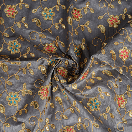 Gray and Golden Flower Design Silk Embroidery Fabric-60291