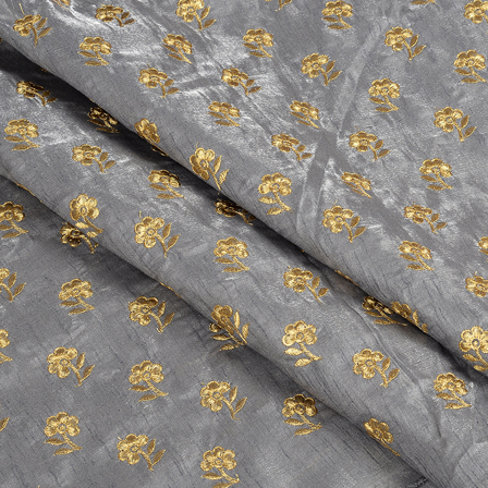 Gray and Golden Flower Design Silk Embroidery Fabric-60400