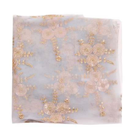 Gray and Golden Flower Embroidery Net Fabric-60883
