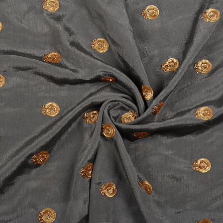 Gray and Golden Flower Malbari Embroidery Silk-60707
