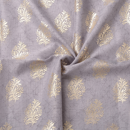 Gray and Golden Leaf Pattern Kota Doria Fabric-25066