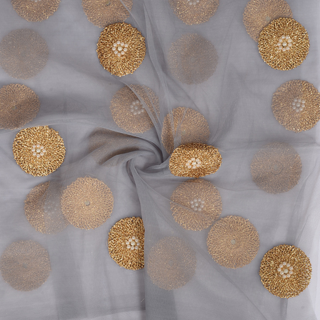 Gray and Golden Polka Embroidery Net Fabric-60300