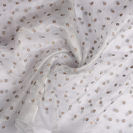Gray and Golden Polka Organza Embroidery Fabric-51211