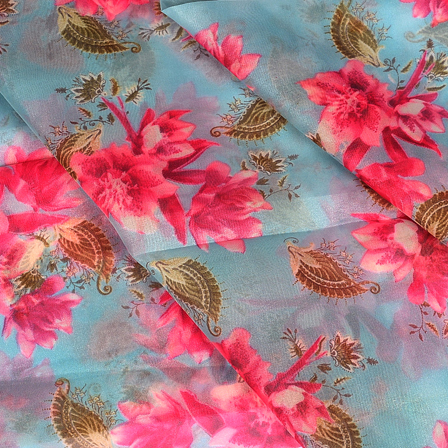 Gray and Pink Floral Design Silk Organza Fabric-50052