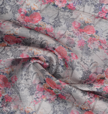 Gray and Pink Flower Organza Digital Print Fabric-51347
