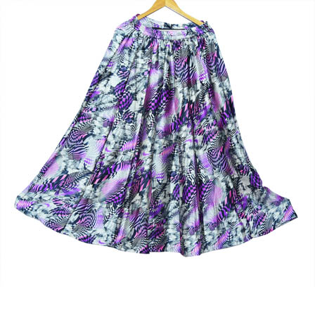 Gray and Purple Umbrella Design Satin Skirt-23038