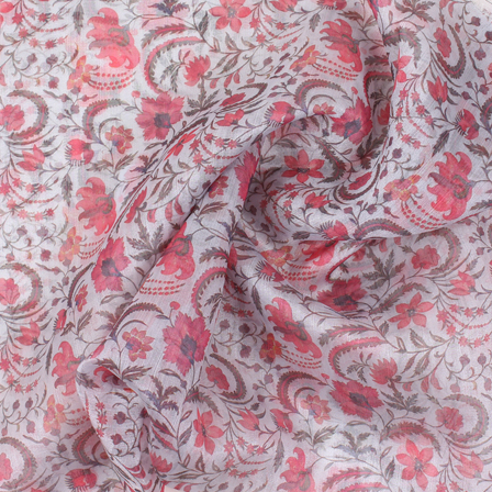 Gray and Red Flower Organza Digital Print Fabric-51385