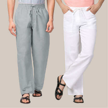 Combo of 2 Cotton Men Handloom Pant Gray and White-35965