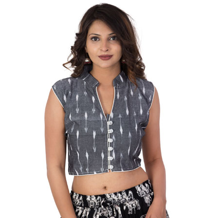 Gray and White Cut Sleeve Cotton Ikat Blouse -30221