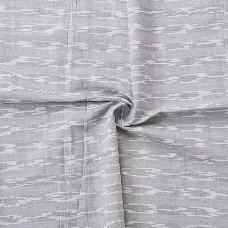 Gray and White Unique Design Cotton Ikat Fabric-12067