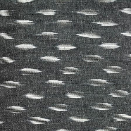 Gray and White Unique Pattern Ikat Cotton Fabric-4239