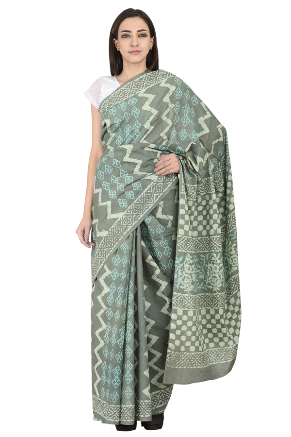 Gray and White Zig Zag design Cotton Dabu Block Print Saree-20095