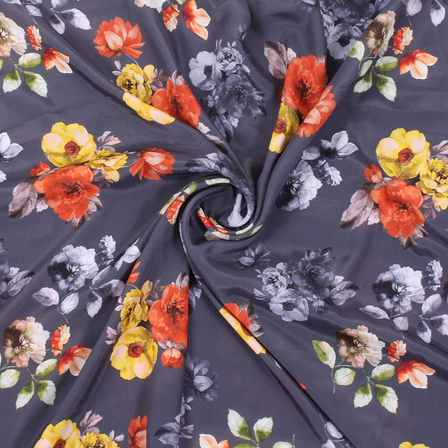 Gray and Yellow Flower Silk Crepe Fabric-18141