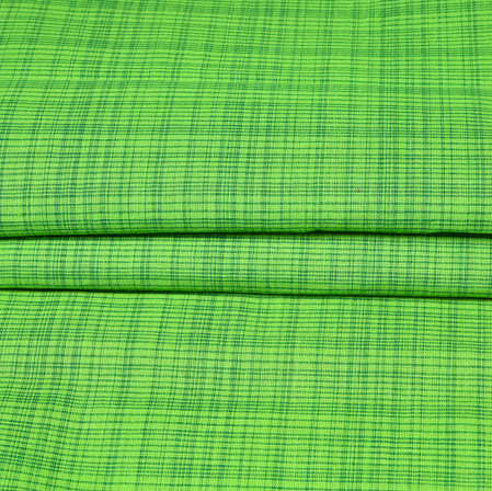 Green Checks Handloom Cotton Fabric-42464