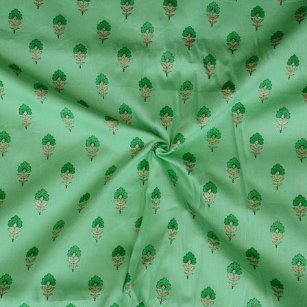 Green Floral Print Jam Cotton Fabric-15217