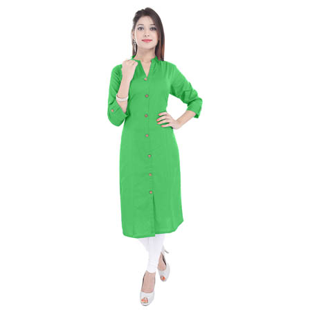 Green 3/4 Sleeve Solid Cotton Kurti-3104