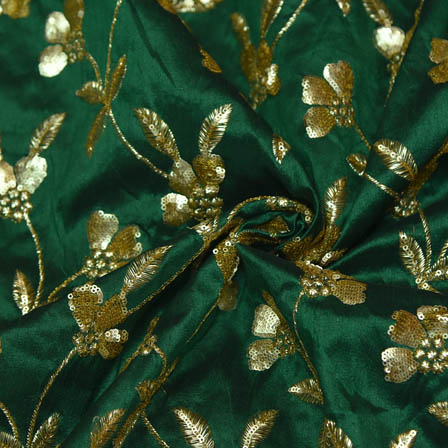Green Banarasi Dupion Base Fabric With Golden Leaf Embroidery-60023