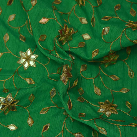 Green Banglori Silk Base Fabric With Golden Floral Embroidery-60008