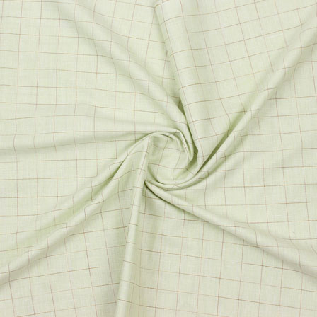 Green Beige Check Handloom Cotton Fabric-40765