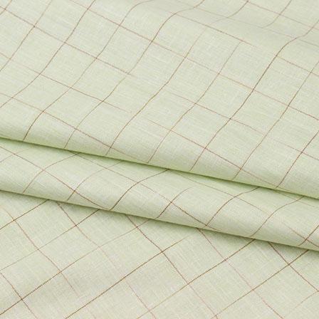 Green Beige Check Handloom Cotton Fabric-40765
